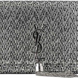 YSL Black College Patchwork Suede Leather Shoulder Bag