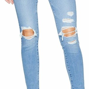 Women's Destroyed Skinny Blue Ripped Jeans Retro Style