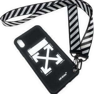iPhone Xs Max Off White Black Case with Strap