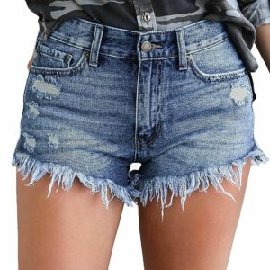 Women's Ripped Blue Denim Destroyed Rip Jeans Shorts