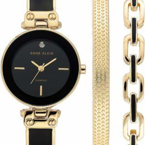 Anne Klein Women's Diamond Dial Black and Gold Watch