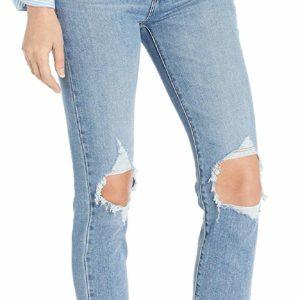 Women's Destroyed Light Blue Skinny Crop Jeans