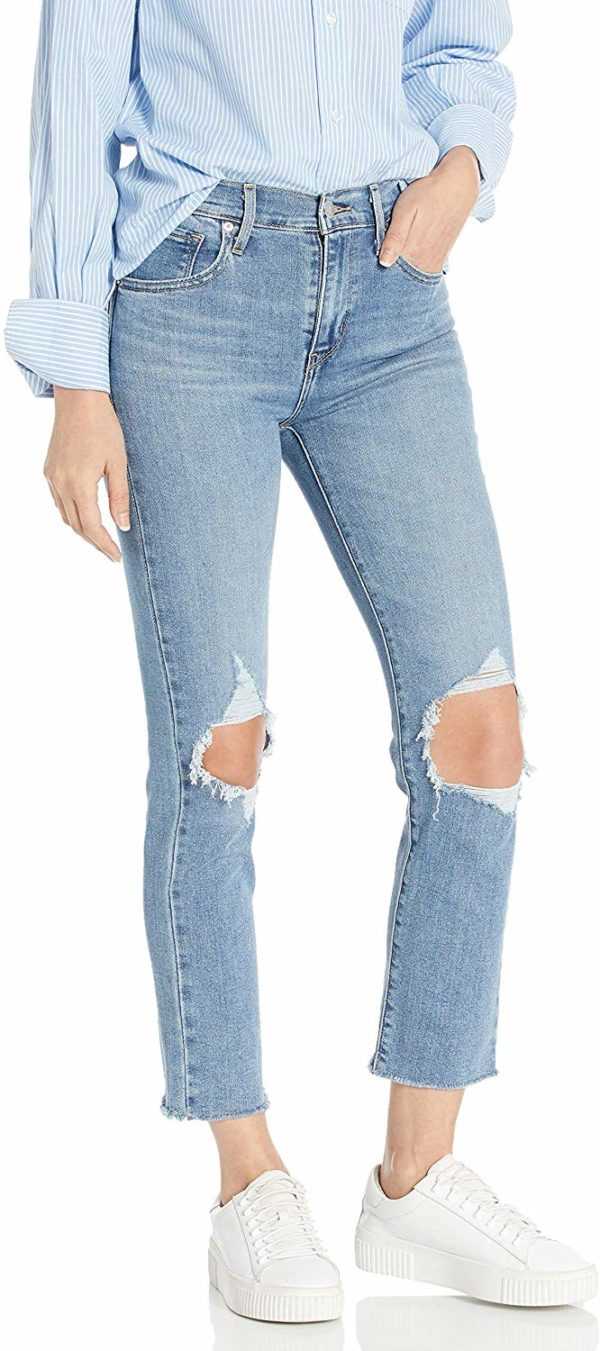 Women's Destroyed Light Blue Skinny Ripped Crop Jeans