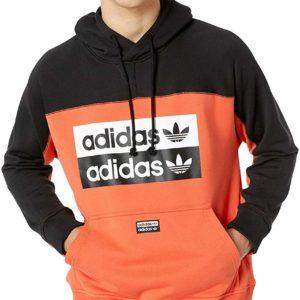 adidas Originals Orange Pullover Hoodie Sweatshirt Men's Hooded Sweatshirt