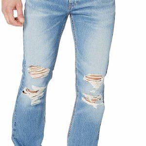 Men's Destroyed Blue Skinny Ripped Slim Jeans StraightPants