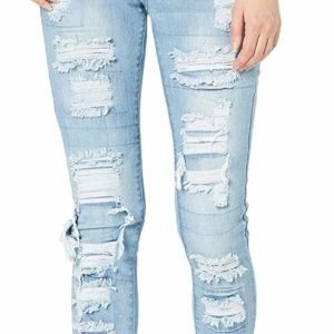 Women's Patched Skinny Destroyed Blue Ripped Jeans