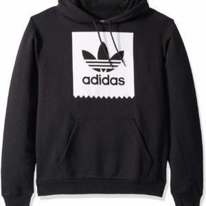 adidas Originals Men's Black Hoodie Skate Solid Blackbird Hooded Sweatshirt