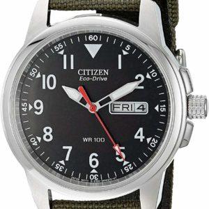 Men's Citizen Quartz Watches with Date Green Band