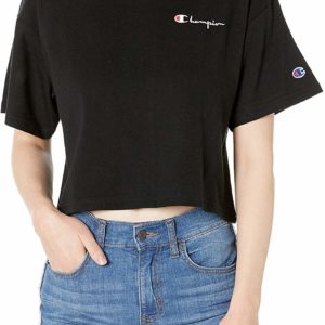 Black Champion Women's Tee Crop Tank Top Short Sleeve T-Shirt